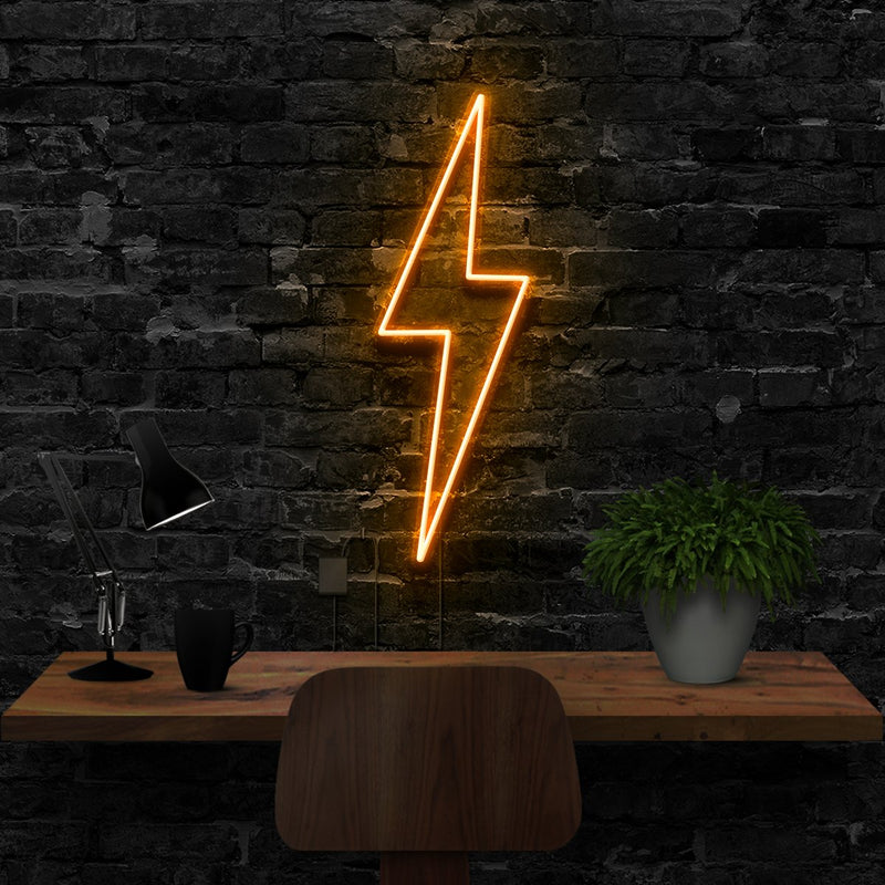 """Lightning Bolt"" Neon Sign 40cm (1.3ft) / Orange / LED Neon by Neon Icons"