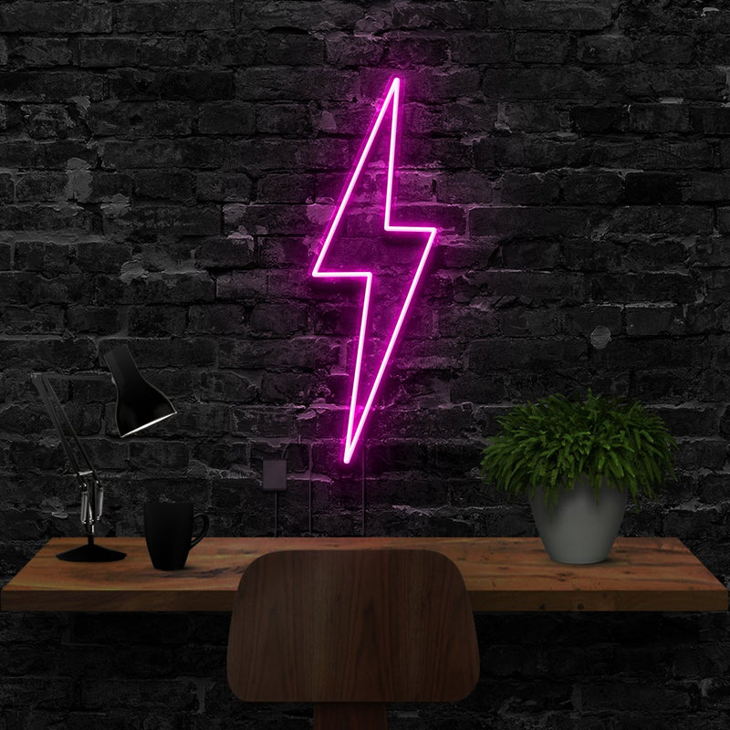 """Lightning Bolt"" Neon Sign 40cm (1.3ft) / Pink / LED Neon by Neon Icons"