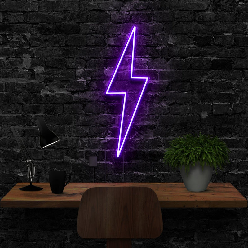 """Lightning Bolt"" Neon Sign 40cm (1.3ft) / Purple / LED Neon by Neon Icons"