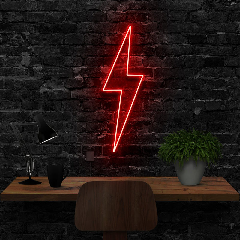 """Lightning Bolt"" Neon Sign 40cm (1.3ft) / Red / LED Neon by Neon Icons"