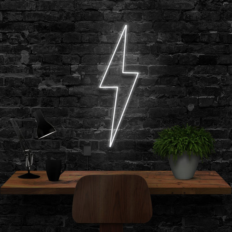 """Lightning Bolt"" Neon Sign 40cm (1.3ft) / White / LED Neon by Neon Icons"