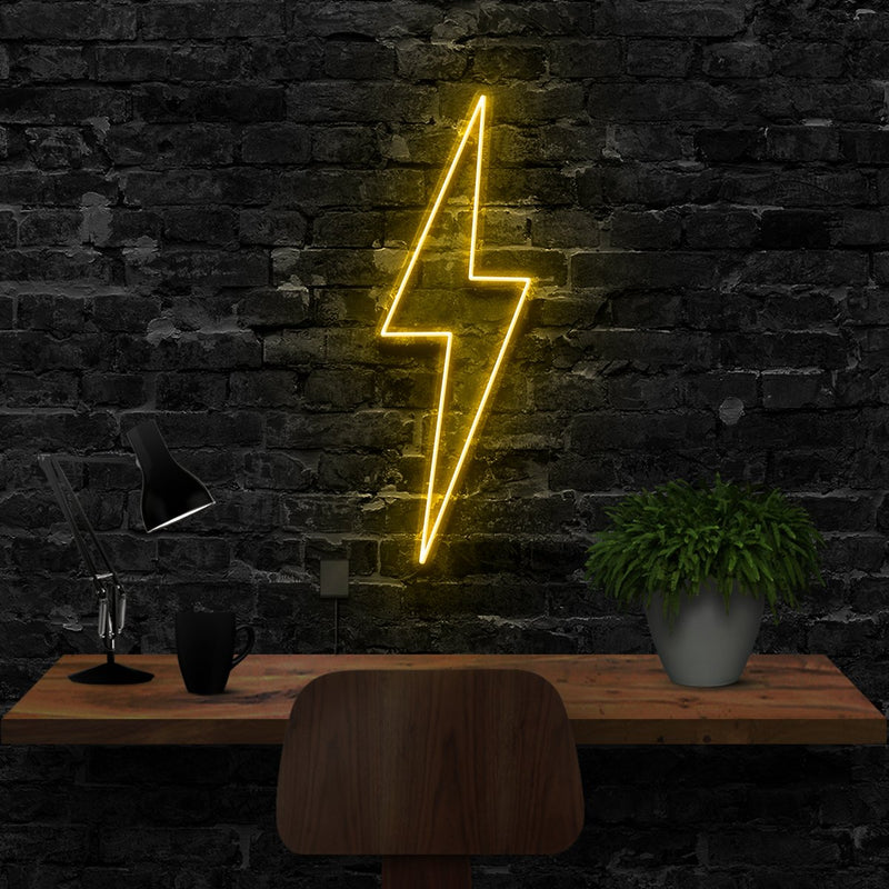 """Lightning Bolt"" Neon Sign 40cm (1.3ft) / Yellow / LED Neon by Neon Icons"
