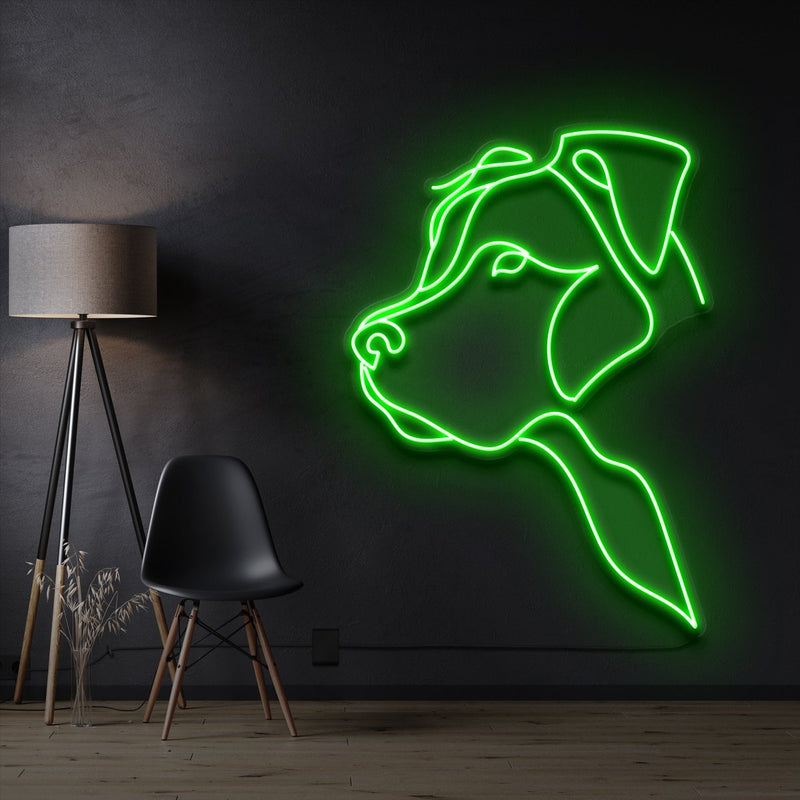 """Long Eared Pitbull"" Pet Neon Sign 60cm / Green / Cut to Shape by Neon Icons"