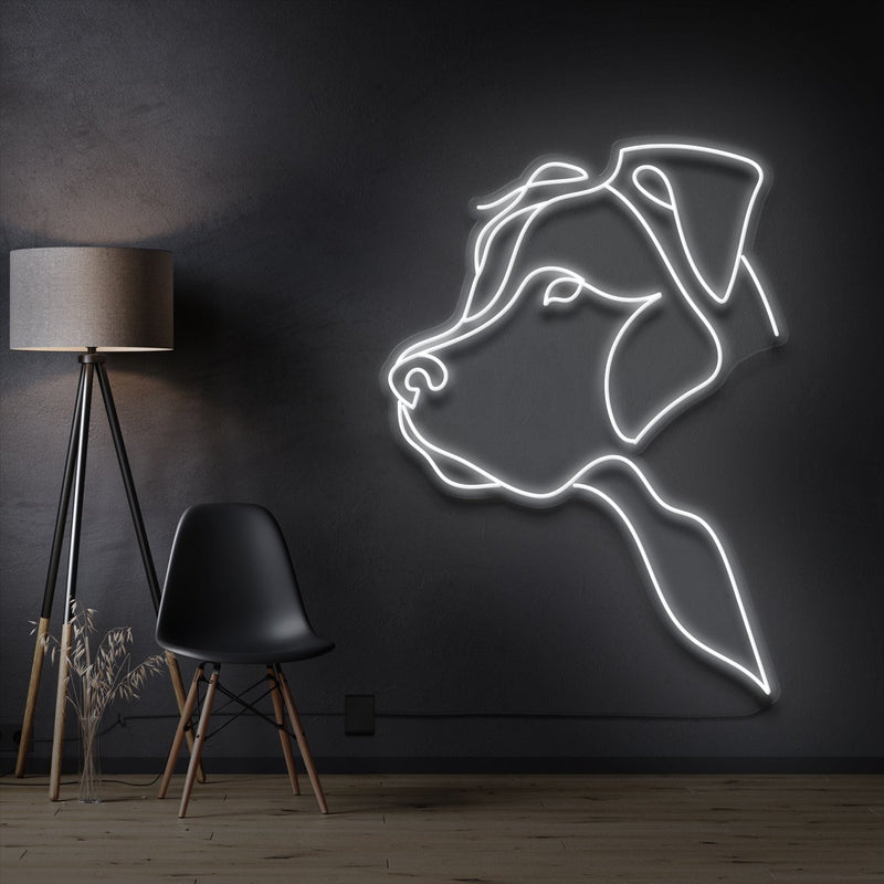 """Long Eared Pitbull"" Pet Neon Sign 60cm / White / Cut to Shape by Neon Icons"
