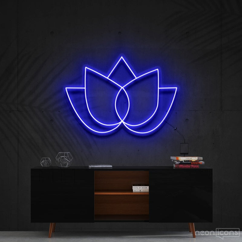 """Lotus Flower"" Neon Sign 60cm (2ft) / Blue / Cut to Shape by Neon Icons"