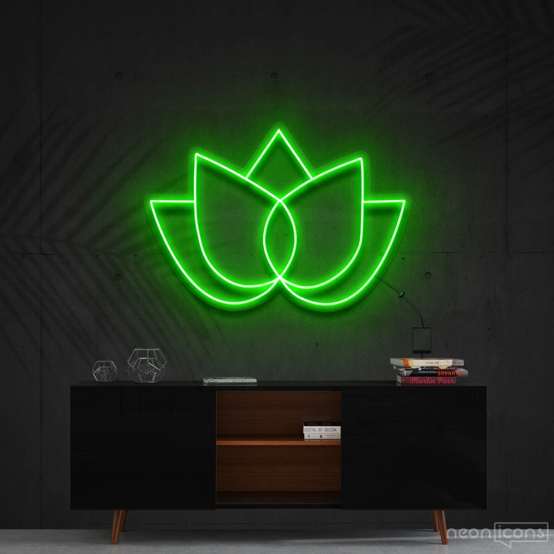 """Lotus Flower"" Neon Sign 60cm (2ft) / Green / Cut to Shape by Neon Icons"