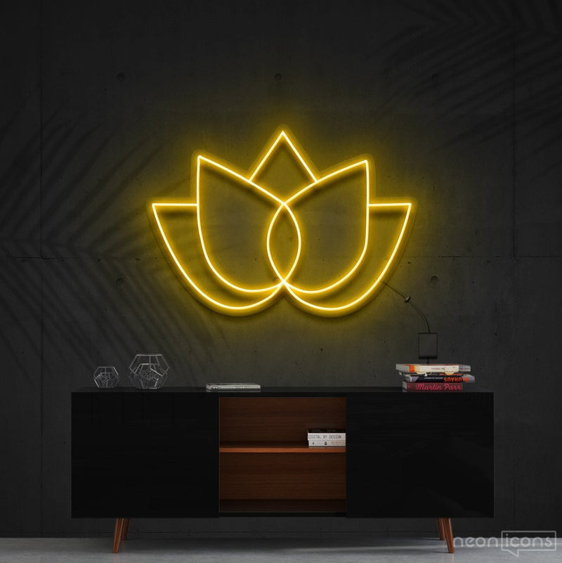 """Lotus Flower"" Neon Sign 60cm (2ft) / Yellow / Cut to Shape by Neon Icons"