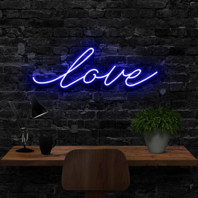 """Love"" Neon Sign 40cm (1.3ft) / Blue / LED Neon by Neon Icons"