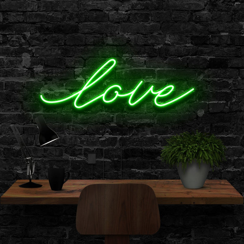 """Love"" Neon Sign 40cm (1.3ft) / Green / LED Neon by Neon Icons"