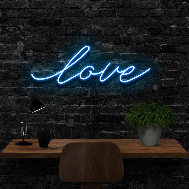 """Love"" Neon Sign 40cm (1.3ft) / Ice Blue / LED Neon by Neon Icons"
