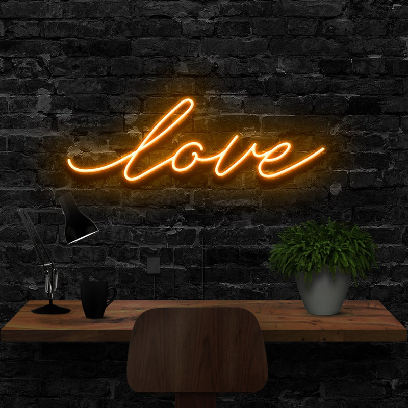"""Love"" Neon Sign 40cm (1.3ft) / Orange / LED Neon by Neon Icons"