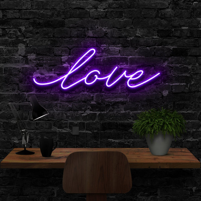 """Love"" Neon Sign 40cm (1.3ft) / Purple / LED Neon by Neon Icons"