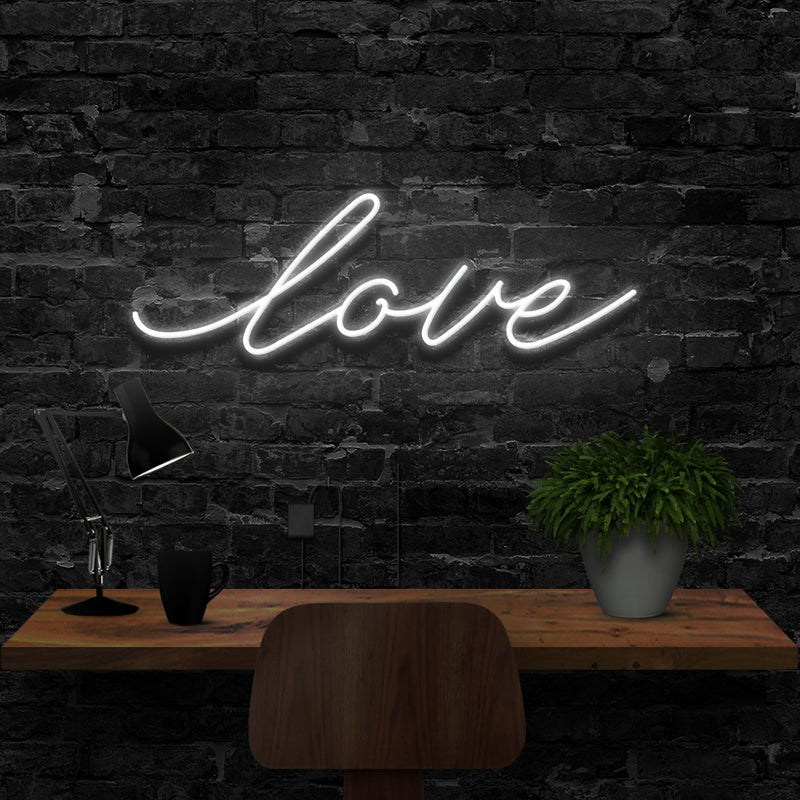 """Love"" Neon Sign 40cm (1.3ft) / White / LED Neon by Neon Icons"