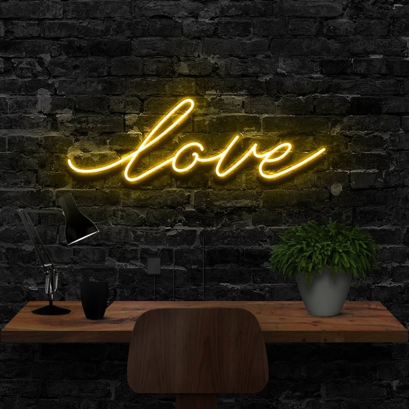 """Love"" Neon Sign 40cm (1.3ft) / Yellow / LED Neon by Neon Icons"