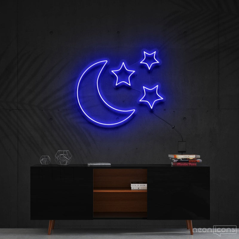 """Moongazing"" Neon Sign 60cm (2ft) / Blue / Cut to Shape by Neon Icons"