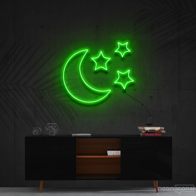"""Moongazing"" Neon Sign 60cm (2ft) / Green / Cut to Shape by Neon Icons"
