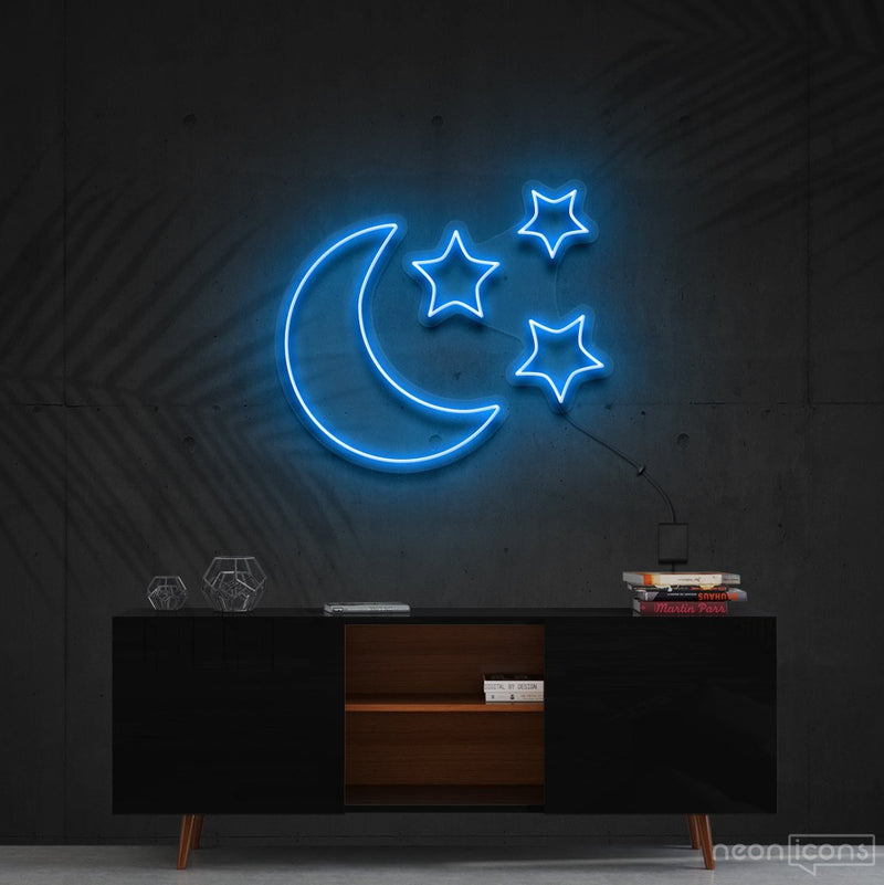 """Moongazing"" Neon Sign 60cm (2ft) / Ice Blue / Cut to Shape by Neon Icons"