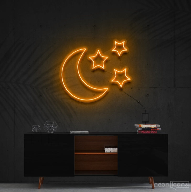 """Moongazing"" Neon Sign 60cm (2ft) / Orange / Cut to Shape by Neon Icons"
