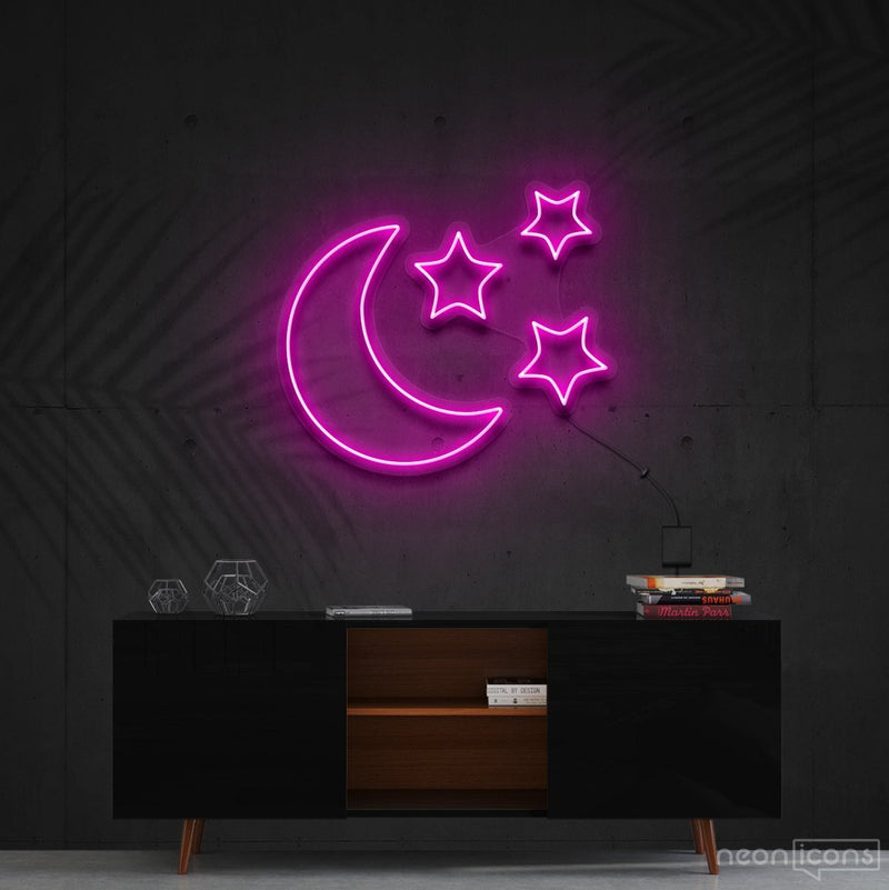 """Moongazing"" Neon Sign 60cm (2ft) / Pink / Cut to Shape by Neon Icons"