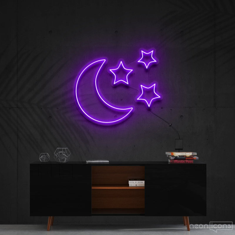 """Moongazing"" Neon Sign 60cm (2ft) / Purple / Cut to Shape by Neon Icons"