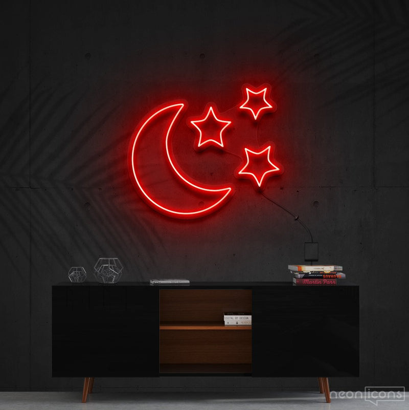 """Moongazing"" Neon Sign 60cm (2ft) / Red / Cut to Shape by Neon Icons"