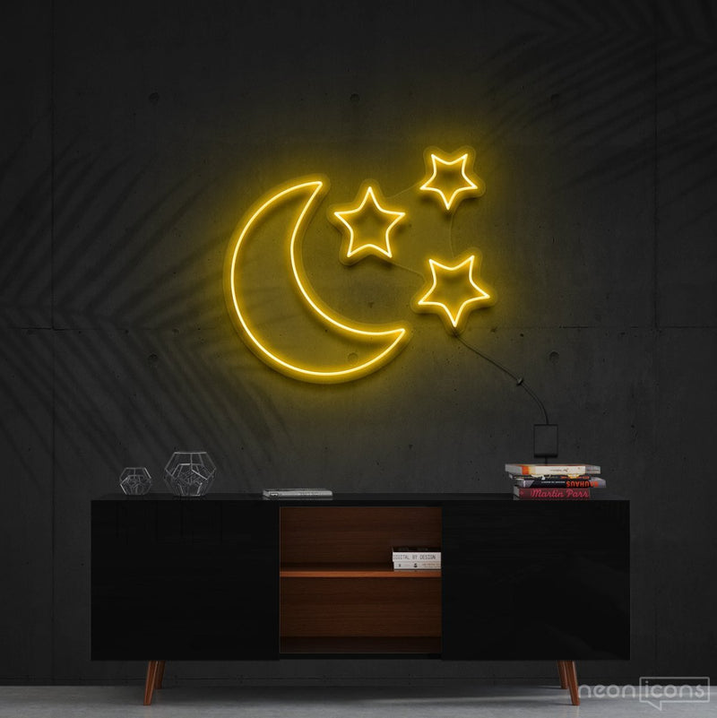 """Moongazing"" Neon Sign 60cm (2ft) / Yellow / Cut to Shape by Neon Icons"