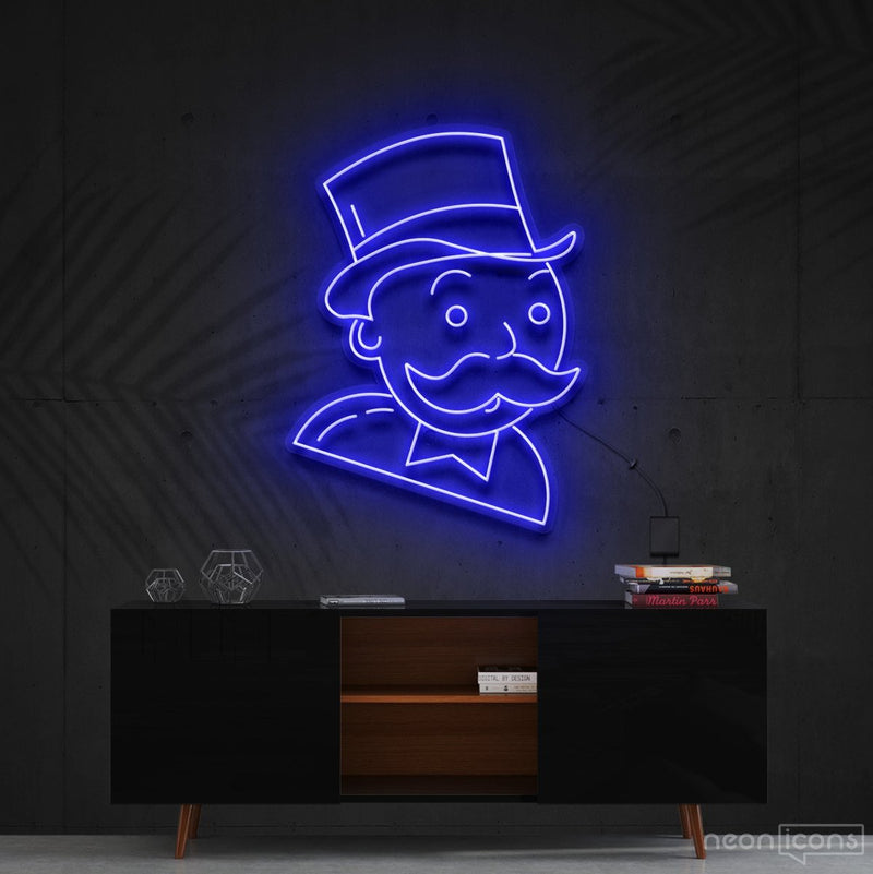 """Mr. Monopoly"" Neon Sign 60cm (2ft) / Blue / Cut to Shape by Neon Icons"
