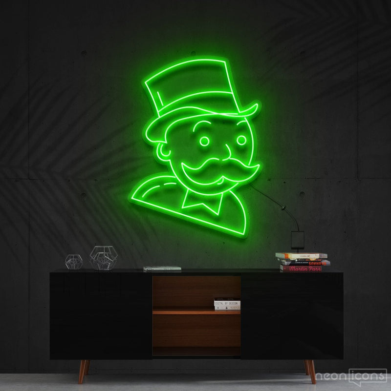 """Mr. Monopoly"" Neon Sign 60cm (2ft) / Green / Cut to Shape by Neon Icons"