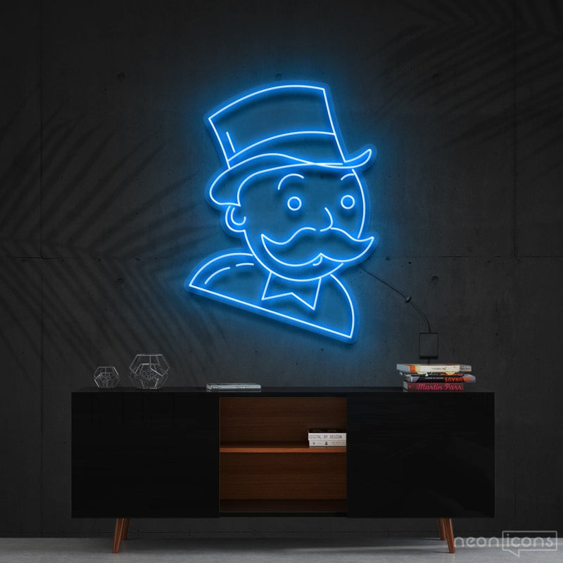"""Mr. Monopoly"" Neon Sign 60cm (2ft) / Ice Blue / Cut to Shape by Neon Icons"