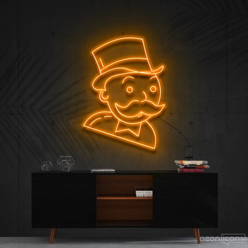 """Mr. Monopoly"" Neon Sign 60cm (2ft) / Orange / Cut to Shape by Neon Icons"