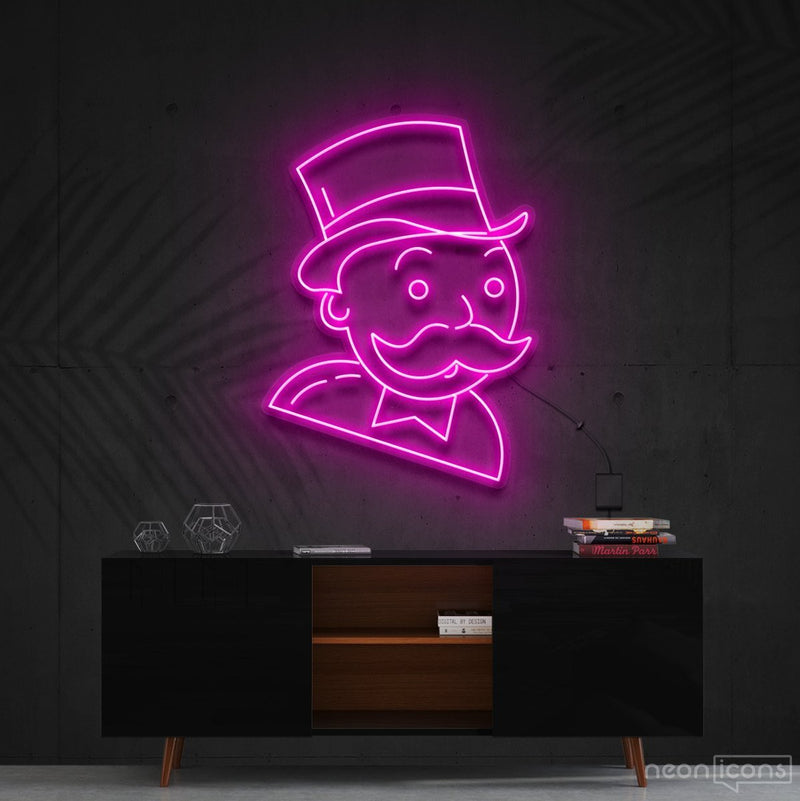 """Mr. Monopoly"" Neon Sign 60cm (2ft) / Pink / Cut to Shape by Neon Icons"