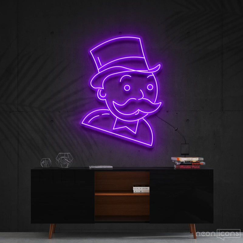 """Mr. Monopoly"" Neon Sign 60cm (2ft) / Purple / Cut to Shape by Neon Icons"