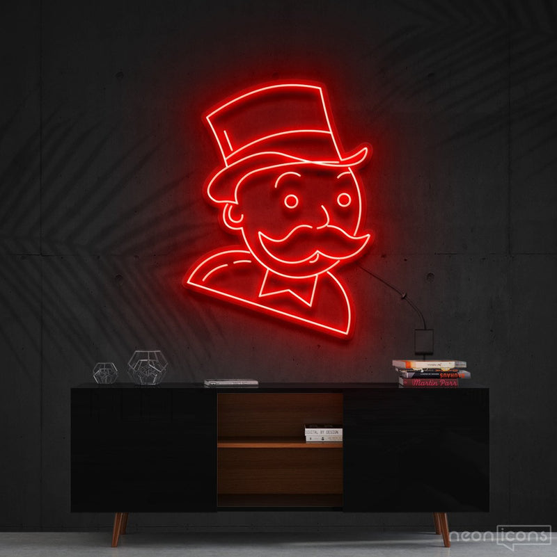 """Mr. Monopoly"" Neon Sign 60cm (2ft) / Red / Cut to Shape by Neon Icons"