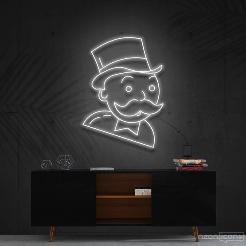 """Mr. Monopoly"" Neon Sign 60cm (2ft) / White / Cut to Shape by Neon Icons"