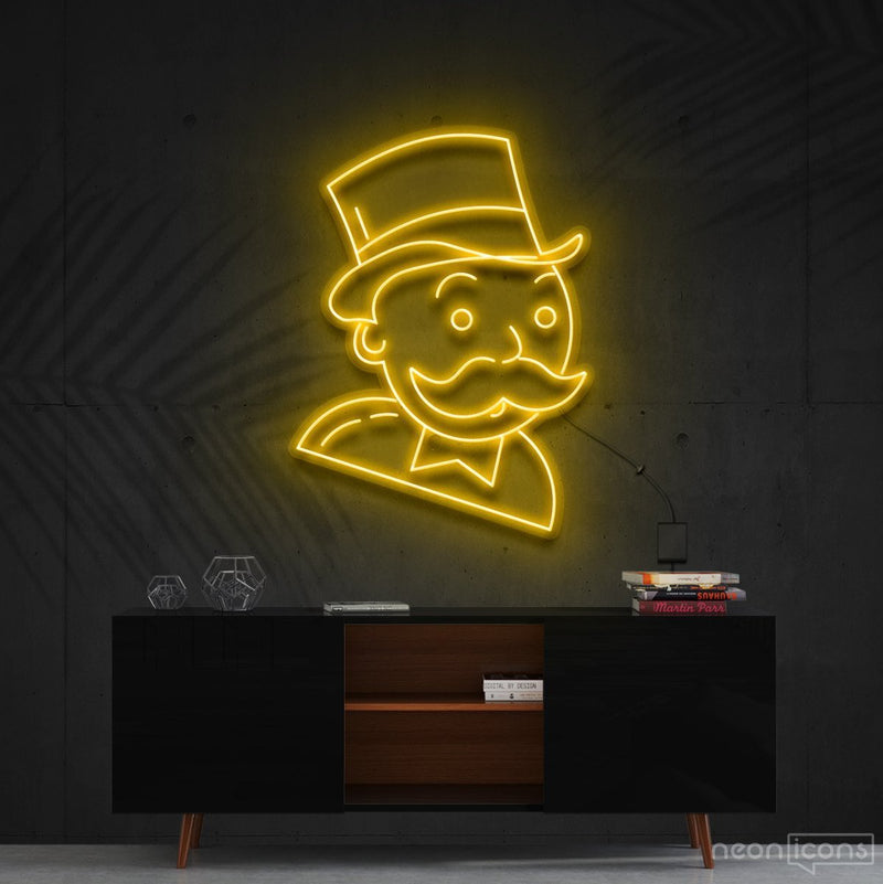 """Mr. Monopoly"" Neon Sign 60cm (2ft) / Yellow / Cut to Shape by Neon Icons"