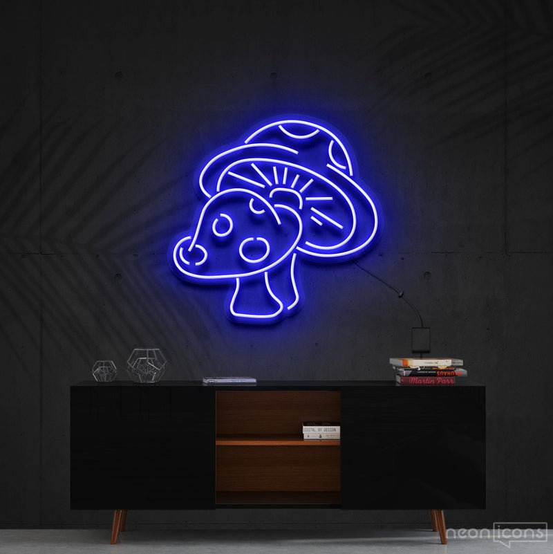 """Mushies"" Neon Sign 60cm (2ft) / Blue / Cut to Shape by Neon Icons"
