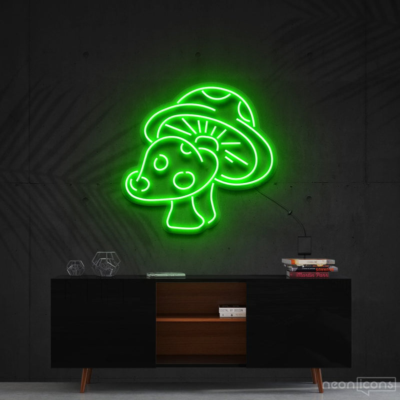 """Mushies"" Neon Sign 60cm (2ft) / Green / Cut to Shape by Neon Icons"
