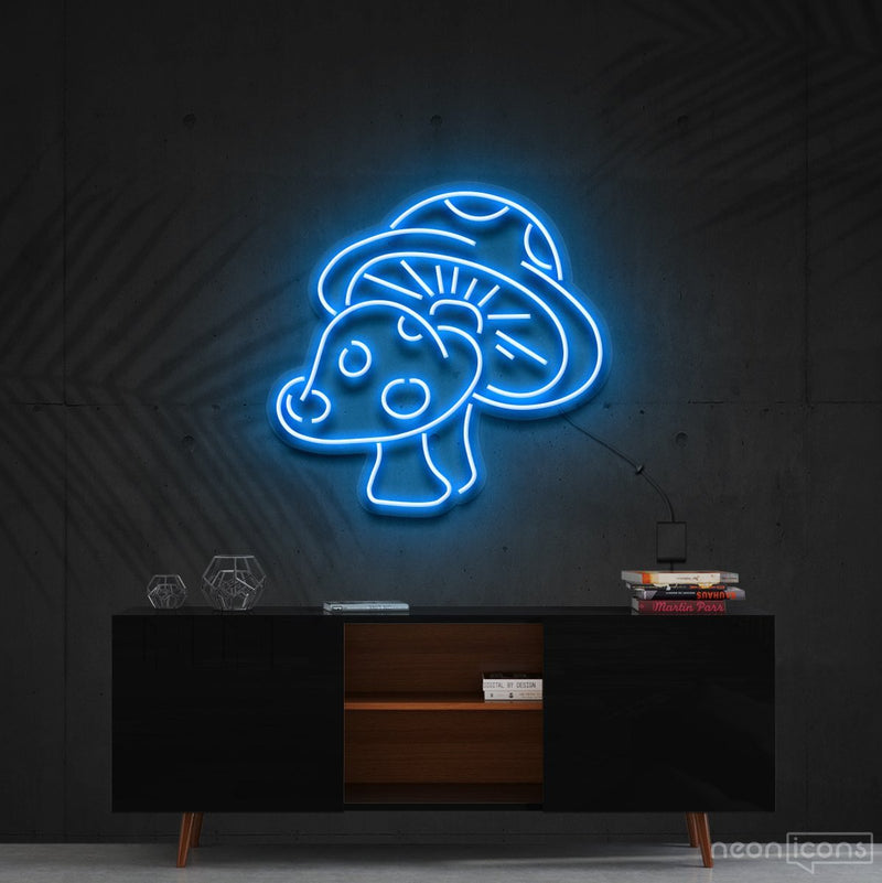 """Mushies"" Neon Sign 60cm (2ft) / Ice Blue / Cut to Shape by Neon Icons"