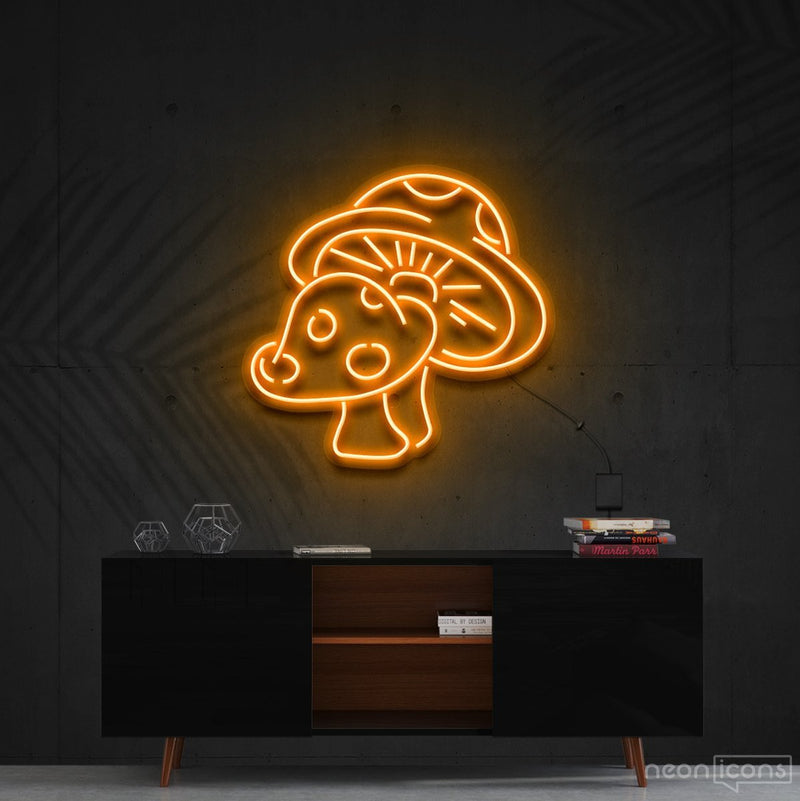 """Mushies"" Neon Sign 60cm (2ft) / Orange / Cut to Shape by Neon Icons"