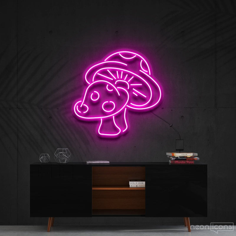 """Mushies"" Neon Sign 60cm (2ft) / Pink / Cut to Shape by Neon Icons"