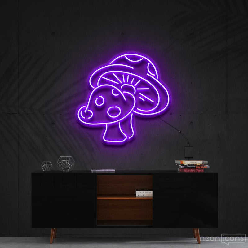 """Mushies"" Neon Sign 60cm (2ft) / Purple / Cut to Shape by Neon Icons"