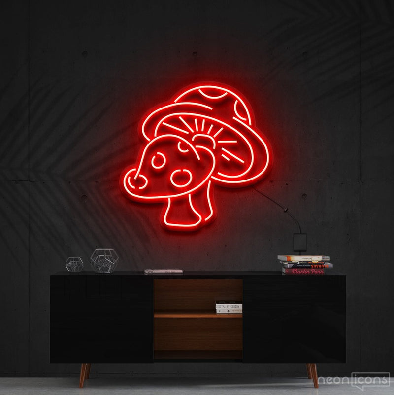 """Mushies"" Neon Sign 60cm (2ft) / Red / Cut to Shape by Neon Icons"