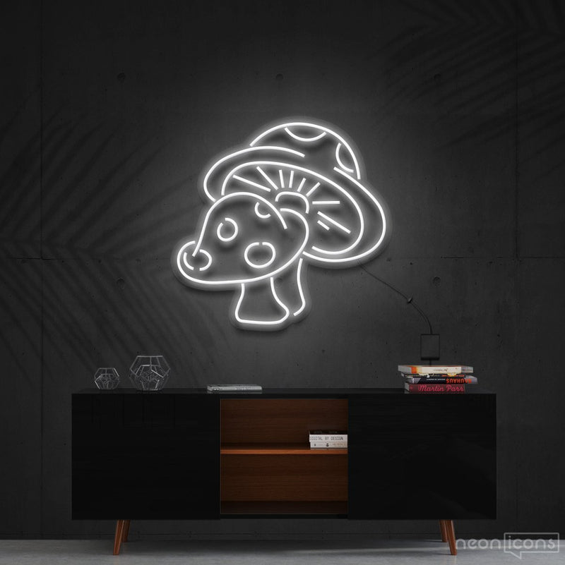 """Mushies"" Neon Sign 60cm (2ft) / White / Cut to Shape by Neon Icons"