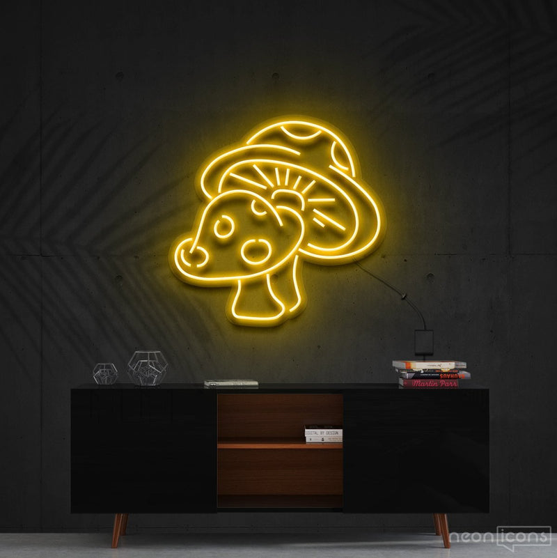 """Mushies"" Neon Sign 60cm (2ft) / Yellow / Cut to Shape by Neon Icons"