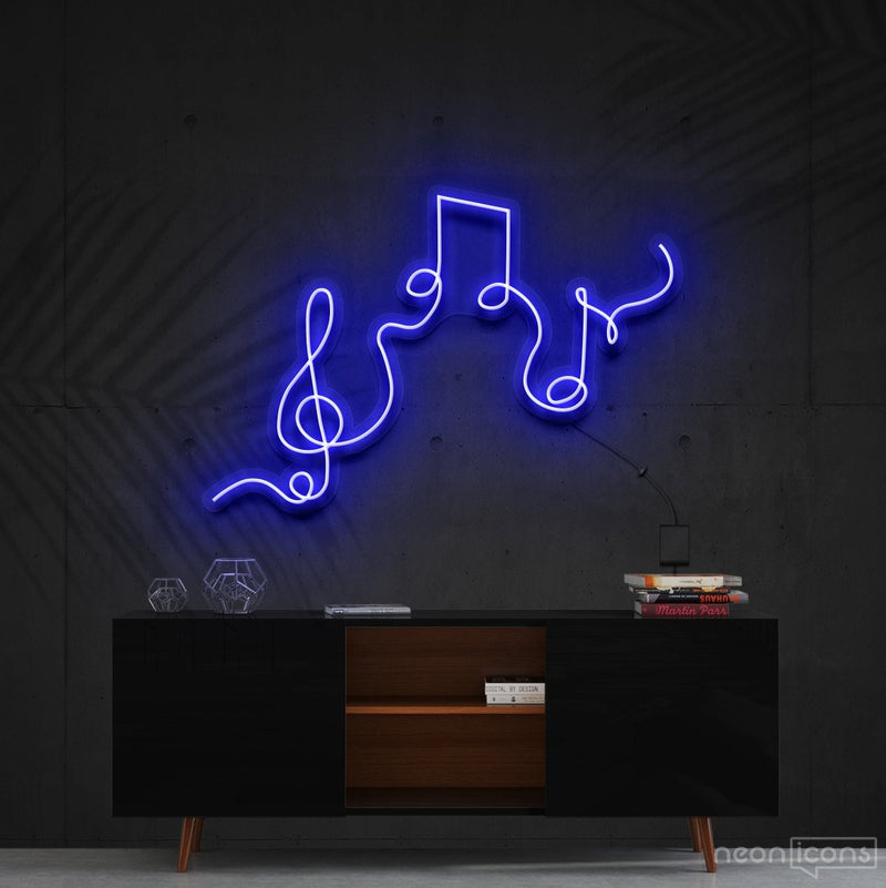 """Musical Flow"" Neon Sign 60cm (2ft) / Blue / Cut to Shape by Neon Icons"