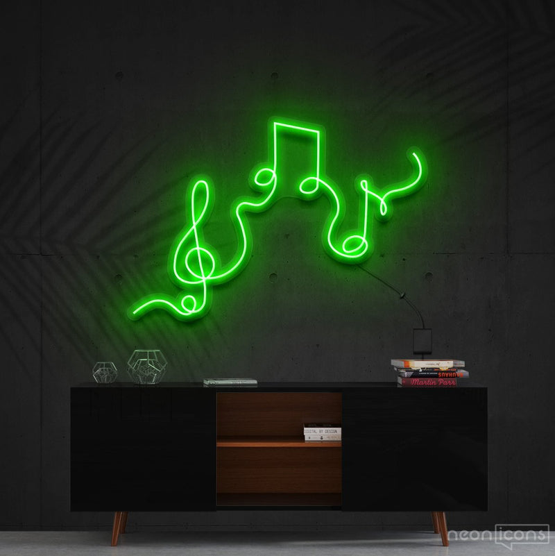 """Musical Flow"" Neon Sign 60cm (2ft) / Green / Cut to Shape by Neon Icons"