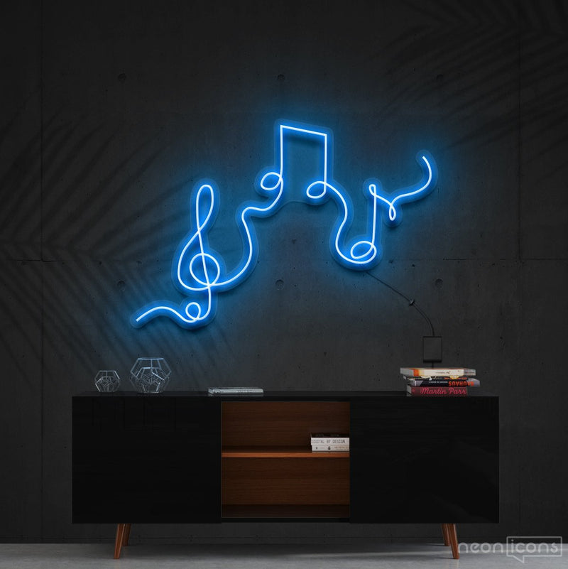 """Musical Flow"" Neon Sign 60cm (2ft) / Ice Blue / Cut to Shape by Neon Icons"