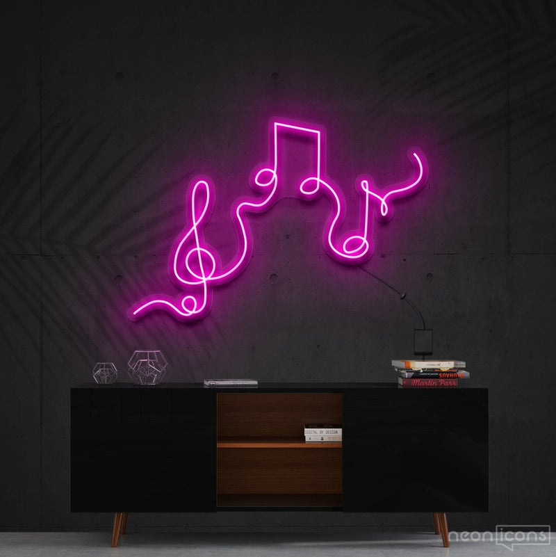 """Musical Flow"" Neon Sign 60cm (2ft) / Pink / Cut to Shape by Neon Icons"