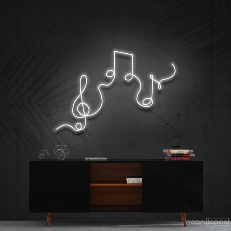 """Musical Flow"" Neon Sign 60cm (2ft) / White / Cut to Shape by Neon Icons"