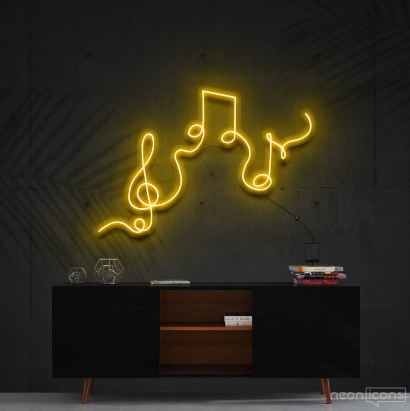 """Musical Flow"" Neon Sign 60cm (2ft) / Yellow / Cut to Shape by Neon Icons"